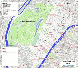XVI Distrito de París - Generado por OpenStreetMap y datos de Wikitravel