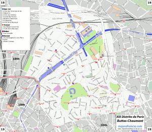 XIX Distrito de París - Generado por OpenStreetMap y datos de Wikitravel